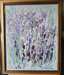 "#PA12 ORIGINAL ACRYLIC PAINTING BY ARTIST LOIS S. BECKER, ""SPRING IS HERE"". MEASURES 18 ""W  X 22"" H.  PRICE$650."