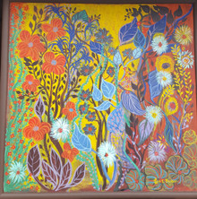 "#PA14 LARGE FRAMED ACRYLIC PAINTING BY ARTIST LOIS S. BECKER ""VIBRANT FANTASY GARDEN""  SIZE 4' 3"" W X  4 ' 3"" H. PRICE $2100."