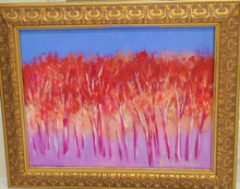 "#PA13  FRAMED ORIGINAL ACRYLIC  PAINTING BY ARTIST LOIS S. BECKER "" DANCING TREES"". MEASURES 18"" L  X 14 1/2"" H  PRICE: $550."