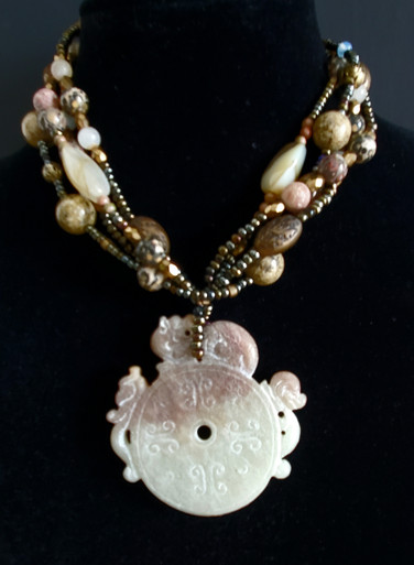 """#ANA8 One-of-a-Kind Vintage Chinese Jade Money Wheel with Assorted Semi-Precious and Complimentary beads. Length 20""""  Price: $850."""