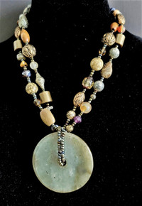 "#ANA9 One-of-a-Kind Vintage Chinese Jade Money Wheel with Assorted Semi-Precious and Complimentary beads. Length 20""  $750."
