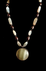 "#BN75 ONE OF A KIND MOONSTONE AGATE PENDANT SUSPENDED ON AGATE AND BRONZE NECKACE 25"" 285."