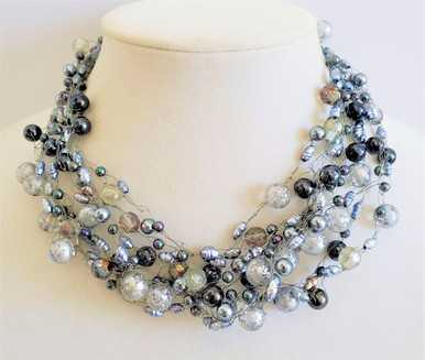 """#AN84 Delicate Hand-Crocheted Necklace with a variety of Gray Semi-Precious beads.  PRICE  16"""" @ $165. -- 18"""" @ $175. -- 20"""" @  $185. -- 25"""" @ $200."""
