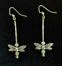 #B32 ETCHED SILVER DRAGONFLY EARRINGS, SUSPENDED FROM A CRYSTAL STEM WITH FLAT PEARL ACCENTS  $35.  available IN WIRE, POST OR CLIP ON