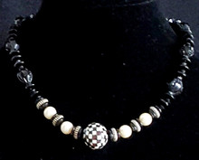 "#BN4 Unique  Necklace  that is versatile and eye catching, Featuring Checkered Inlaid Mother of Pearl and Large White Pearls,   Price:  18"" @ $58.   20"" @ $60.   25"" @ $65.  30"" @ $70.   Earring to go with this necklace #A53"