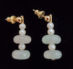#A102 JADE AND PEARL EARRINGS $35. AVAILABLE IN WIRE, POST AND CLIP ON