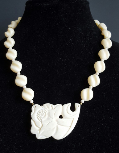 #BN29 ONE OF A KIND FABULOUS CARVED LARGE FLOWER WITH TWISTED BEAD NECKLACE (BN29