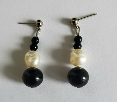 #AA86 ONYX AND PEARL EARRINGS $35.  AVAILABLE IN WIRE, POST OR CLIP ON