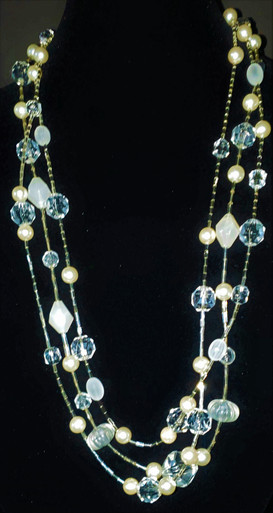"""#BN88 LONG GLITZY THREE STRAND FAUX CRYSTAL AND PEARLS. BRING ON THE GLAM!$25"""" @ $125.  /  30"""" @ $150.  /  32"""" @ $160. /  36"""" @ $180."""