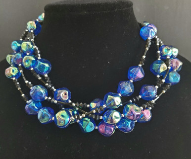 """#AAN6  LIGHTWEIGHT MULTI STRANDS OF  ROYAL BLUE LACQUER AND BLACK PRICE: 18"""" @ $125.  / 25"""" @ 150.  /  32"""" @ $165."""