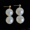 #A06 LARGE CREAMY EARRINGS WITH TWO PEARLS  $45. AVAILABLE IN WIRE, POST OR CLIP ON