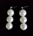 #A011 THREE LARGE ELEGANT CREAMY PEARL EARRINGS $50. AVAILABLE IN WIRE, POST OR CLIP ON