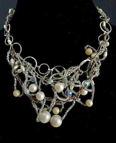 "#AN3 Unique Free Form One-Of-A-Kind Hand-Made ""BIB"" Necklace  woven together with Pearls, Crystals and Tiny Crystal Seed Beads-- PRICE 16"" or 18"" @  $450."