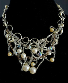 "#AN3 Unique Free Form One-Of-A-Kind Hand-Made ""BIB"" Necklace  woven together with Pearls, Crystals and Tiny Crystal Seed Beads-- PRICE 16"" @$350. ,  18"" @  $355.  22"" @ 360.   25""  @ $375."
