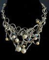"""#AN3 Unique Free Form One-Of-A-Kind Hand-Made """"BIB"""" Necklace  woven together with Pearls, Crystals and Tiny Crystal Seed Beads-- PRICE 16"""" or 18"""" @  $450."""