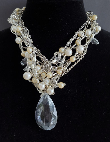 #AAN2 ONE-OF-A-KIND FABULOUS FACETED CRYSTAL PENDANT HANGING FROM MULTIPLE STRANDS OF WOVEN CRYSTALS AND PEARLS  PRICE:  $395.. 18""