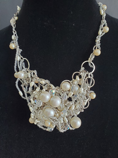 """#AAN7 ONE OF A KIND FABULOUS STATEMENT NECKLACE FEATURING A  BIB OF LARGE PEARLS AND CRYSTALS  16"""" or 18""""  @ $550."""