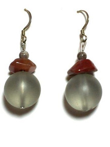 #A9 FROSTED GRAY WITH JASPER EARRING