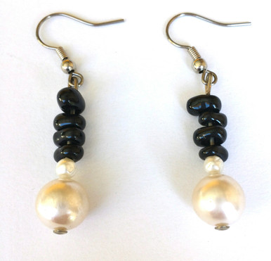 #A24  Pearl with Onyx chips Earrings $25.  May be ordered in wire, post or clip on, please specify when ordering