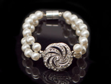 RHINESTONE CENTER BRACELET WITH DOUBLE STRAND OF PEARLS, MAGNETIC CLASP.  .   CAN BE ORDERED IN YOUR SIZE .