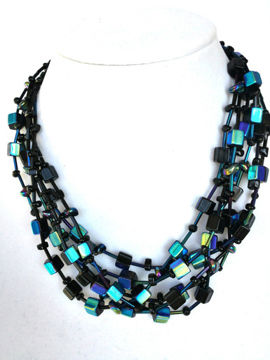 "#AN49 GLAMOROUS MULTI STRAND IRIDESCENT  BLUE/BLACK  AUSTRIAN LEAD  GLASS NECKLACE WITH ONYX DETAILS 18"" @ $255.  20"" $260.  25"" @ $300."