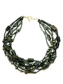 MULTI STRAND SEMI-PRECIOUS HEMATITE IN DIFFERENT SHAPES. Dark gray pearls and seed beads.   16  long  CAN BE CUSTOM MADE LONGER UPON REQUEST .  I recommend earring #A41