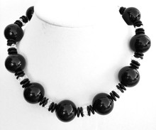 "#AN50 Chunky  Handmade necklace with huge Shiny Black Beads with Clear Beads as Accents, Simple but Makes A Real Fashion Statement , Picture this on any dress , it will go with dressup or casual and look great.  Price:  18"" @ $68.  -- 20"" @ $ 70. -- 25"" @ $75."