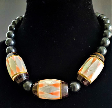 """#AN 36 Large Harlequin Pattern Mother of Pearl and Coral inlay with black accent beads  length  18"""" @  $75 . -- 20"""" @ $80. -- 25"""" @ $95."""
