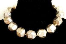 "#AN31 Chunky Choker Necklace  With Important Large Bold Silver Beads Makes a Simple but Important Fashion Statement. Perfect to fill in a Neckline  Price $75.   Length 18""  or 20"".   Can be custom ordered in other lengths for added charge"