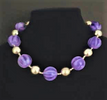 """#AN65 Large Vibrant Purple and Silver beads  Length 18 """"  Price: $65.  Available in custom size to fit your needs for an extra charge"""