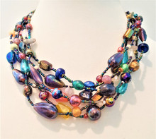 "#An39 Multi Strands of Fabulous Colorful Vintage Hand Blown Glass Beads strung and designed by jewelry artist Lois Becker. Price: 18"" @  $165.  -- 20"" @ $168. -- 25"" @ $175."
