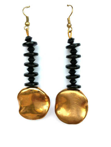 #A6  Long Gold and Black Drop Earrings $35  Available in post, wire or clip on