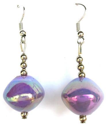#A21 Lavender Lacquer Beads with Silver Accents $25.