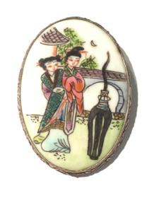 """#P2  The Brooch is back! Beautiful Large Hand Painted Porcelain Pin Encased in an intricate Etched Silver frame 2 1/2"""" Long  Price $55."""