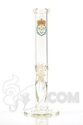 "Manifest Glassworks - 7mm 15"" Single Stage Straight with UV Blue and Orange Lion"