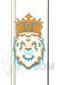 "Manifest Glassworks - 7mm 15"" Single Stage Straight with UV Blue and Orange Lion Logo"