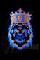 "Manifest Glassworks - 7mm 15"" Single Stage Straight with UV Blue and Orange Lion UV Logo"