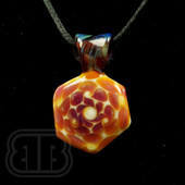 BC Glassworx - White and Orange Dot Stack Pendant