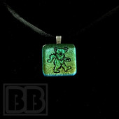 Joint Forces - Iridescent Green Dancing Bear Dichro Pendant