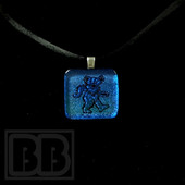 Joint Forces - Iridescent Blue Dancing Bear Dichro Pendant