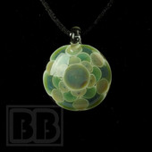 Libby Glass - Green & Blue Flower Dotstack Pendant