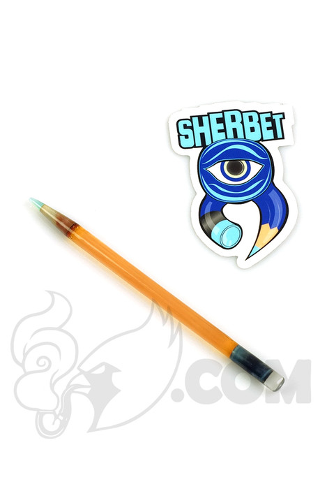 Sherbet Glass - Glass Pencil Dabber CFL Terp with Teal Tip