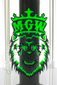 Manifest Glassworks - 14mm UV Black and Green Cirq Bubbler Logo
