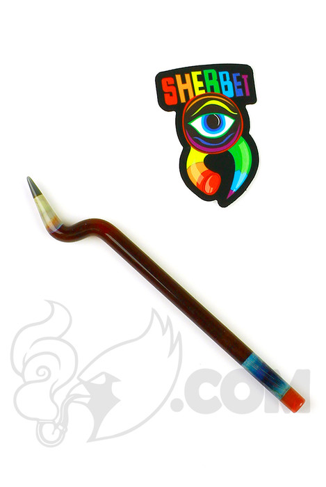 Sherbet Glass - Bent Dark Red Glass Pencil Dabber