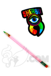 Sherbet Glass - Mini Transparent Pink Glass Pencil Dabber with Green Tip