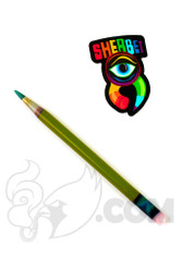 Sherbet Glass - Glass Pencil Dabber Chartreuse with Teal Tip