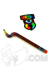 Sherbet Glass - Bent Amber Purple Glass Pencil Dabber