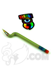 Sherbet Glass - Bent Chartreuse Glass Pencil Dabber with Grey Tip