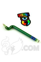 Sherbet Glass - Bent Metallic Green Glass Pencil Dabber with Grey Tip