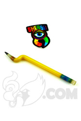 Sherbet Glass - Bent Yellow Glass Pencil Dabber with Peach Eraser